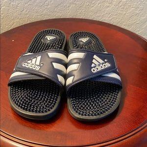 Adidas slides size 6 blue & white like new